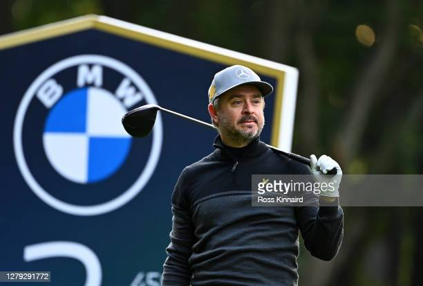 Mikko Korhonen of Finland tees off on the 3rd hole during Day 2 of the BMW PGA Championship at Wentworth Golf Club on October 09, 2020 in Virginia...