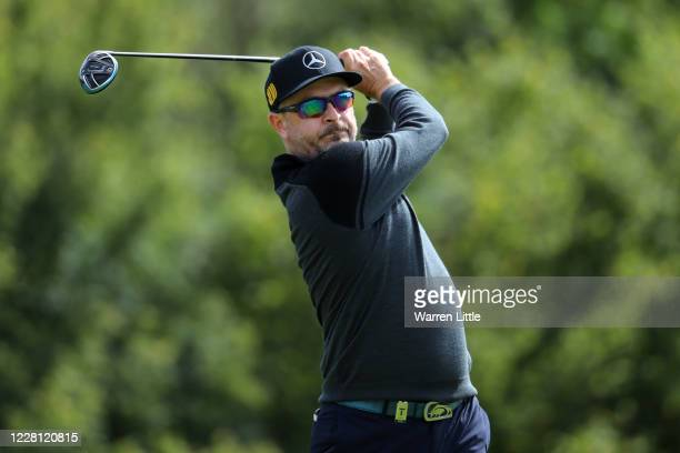 Mikko Korhonen of Finland tees off on the 6th hole during Day One of the Wales Open at the Celtic Manor Resort on August 20, 2020 in Newport, United...