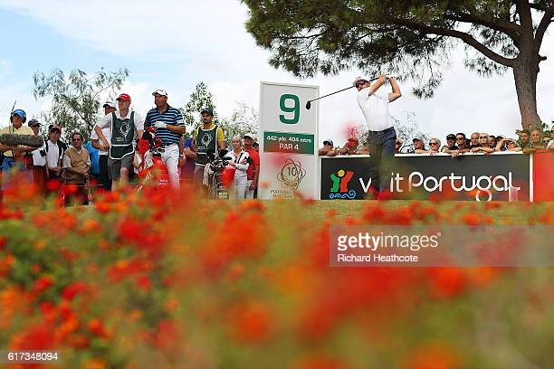 Mikko Korhonen of Finland tees off on the 9th hole during day four of the Portugal Masters at Victoria Clube de Golfe on October 23 2016 in Vilamoura...