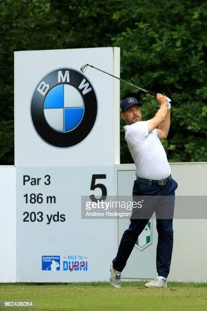 Mikko Korhonen of Finland tees off on the fifth during day two of the BMW PGA Championship at Wentworth on May 25 2018 in Virginia Water England