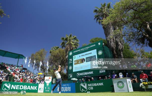 Mikko Korhonen of Finland tees off on the first hole during the third round of the Nedbank Golf Challenge at Gary Player CC on November 10, 2018 in...
