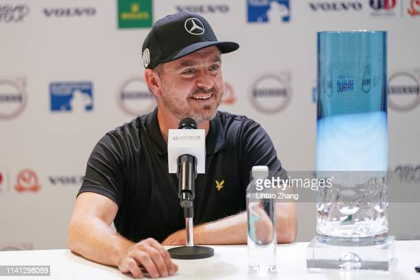 Mikko Korhonen of Finland with the Volvo trophy attend a press conference after winning the 2019 Volvo China Open at Genzon Golf Club on May 5 2019...