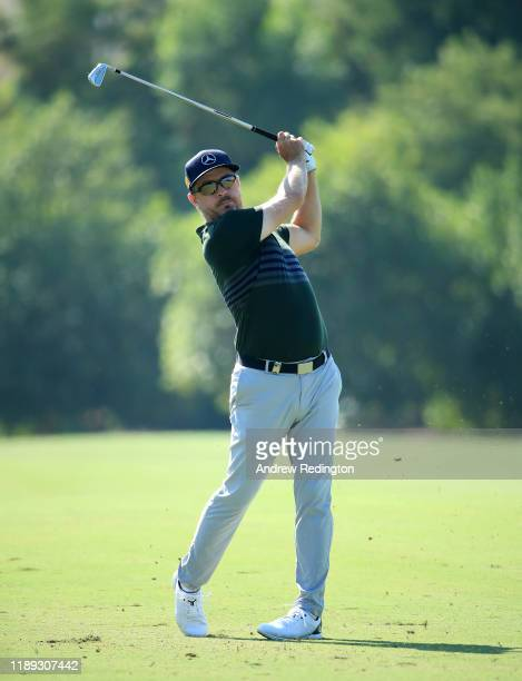 Mikko Korhonen plays his second shot on the 3rd hole during Day Two of the DP World Tour Championship Dubai at Jumeirah Golf Estates on November 22,...