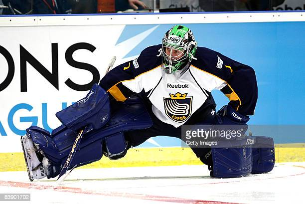 Mikko Koskinen of Espoo Blues in action during the IIHF Champions Hockey League match between HV 71 Joenkoeping and Espoo Blues on December 3, 2008...