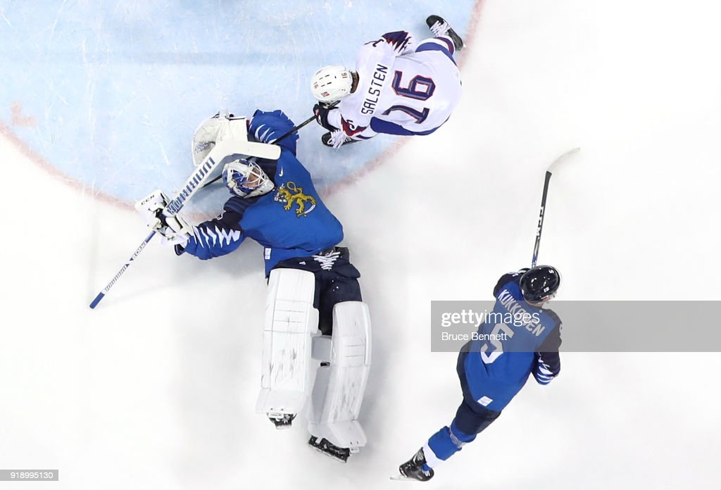 Mikko Koskinen #19 of Finland makes a save against Eirik Salsten #16 of Norway in the third period during the Men's Ice Hockey Preliminary Round Group C game at Gangneung Hockey Centre on February 16, 2018 in Gangneung, South Korea.