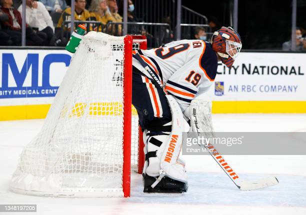 Mikko Koskinen of the Edmonton Oilers stands in the crease during a stop in play in the second period of a game against the Vegas Golden Knights at...