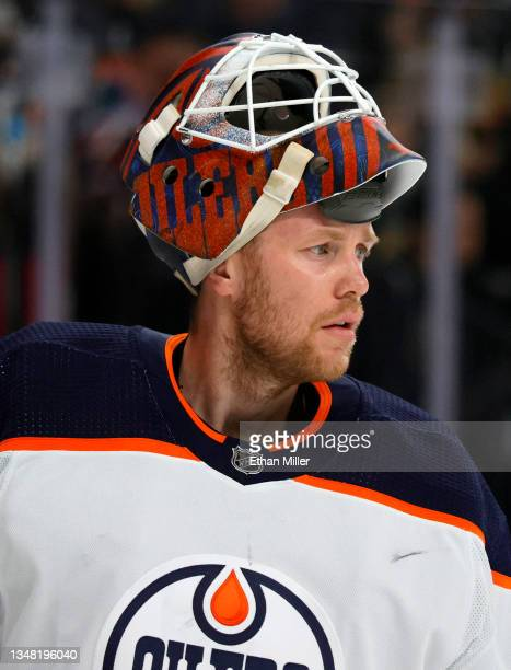 Mikko Koskinen of the Edmonton Oilers takes a break during a stop in play in the second period of a game against the Vegas Golden Knights at T-Mobile...