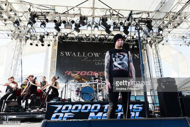 Mikko Kotamäki of Swallow The Sun performs with a string ensemble onboard the cruise liner 'Independence of the Seas' during the '70000 Tons of...