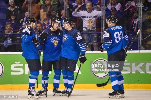 Mikko Lehtonen of Finland celebrates scoring a goal during the 2019 IIHF Ice Hockey World Championship Slovakia group A game between Finland and...
