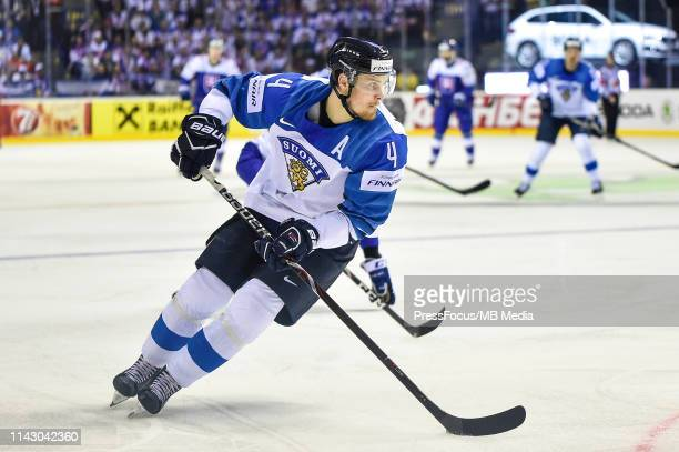 Mikko Lehtonen of Finland controls the puck during the 2019 IIHF Ice Hockey World Championship Slovakia group A game between Slovakia and Finland at...