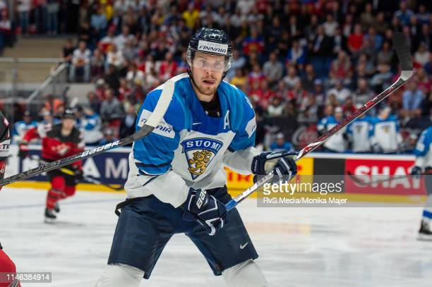 Mikko Lehtonen of Finland looks on during the 2019 IIHF Ice Hockey World Championship Slovakia final game between Canada and Finland at Ondrej Nepela...
