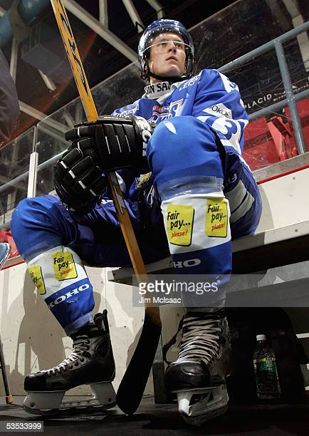 Mikko Lehtonen of Finland sits in the penalty box against the United States during USA Hockey's Junior Men's Summer Challenge on August 13 2005 at...