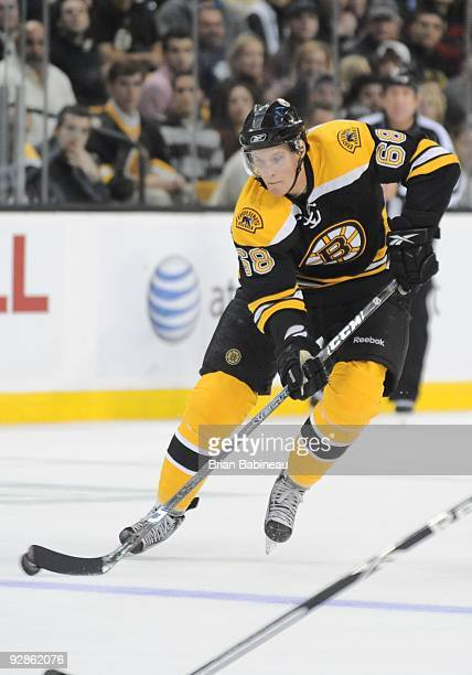 Mikko Lehtonen of the Boston Bruins plays the puck across the blueline during the game against the Montreal Canadiens at the TD Garden on November 5,...