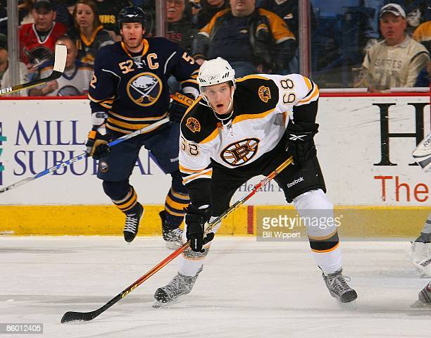 Mikko Lehtonen of the Boston Bruins skates in his first NHL game against the Buffalo Sabres on April 11 2009 at HSBC Arena in Buffalo New York