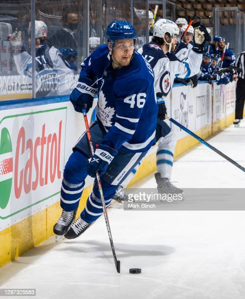Mikko Lehtonen of the Toronto Maple Leafs skates against the Winnipeg Jets during the second period at the Scotiabank Arena on January 18, 2021 in...