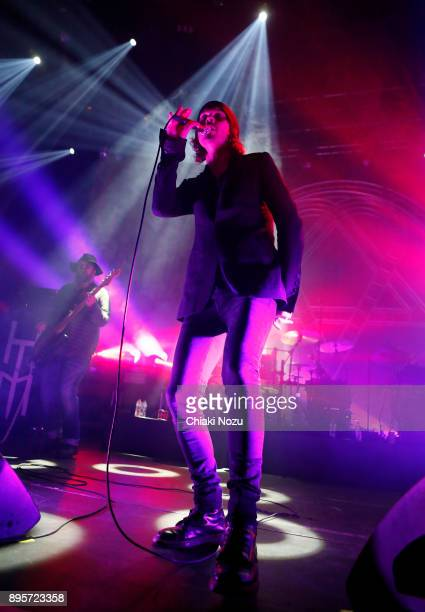 Mikko 'Mige' Paananen and Ville Valo of HIM perform live on stage at The Roundhouse on December 19 2017 in London England