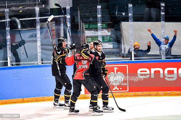 Mikko Niemela's winning goal was assisted by Mikko Lehtonen and Mikael Ruohomaa of Karpat Oulu during the Champions Hockey League match between...