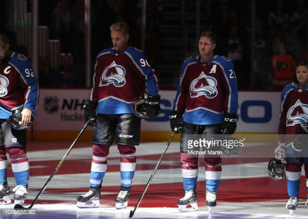 Mikko Rantanen and Nathan MacKinnon of the Colorado Avalanche skates against the Philadelphia Flyers at the Pepsi Center on October 6 2018 in Denver...