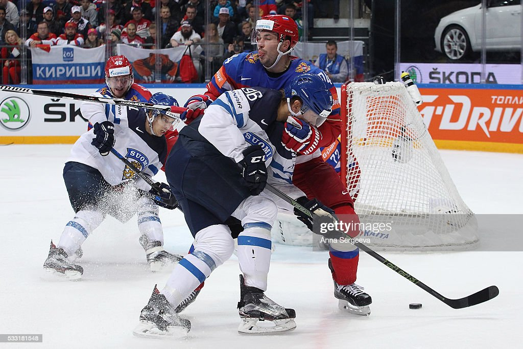 Mikko Rantanen #96 of Finland and Alexei Yemelin #74 of Russia battle for the puck at Ice Palace on May 21, 2016 in Moscow, Russia.