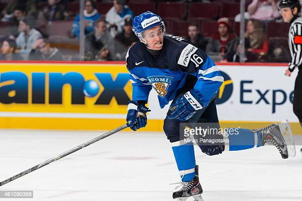 Mikko Rantanen of Team Finland skates in a preliminary round game during the 2015 IIHF World Junior Hockey Championships against Team Germany at the...