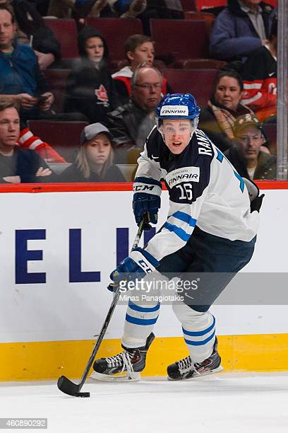 Mikko Rantanen of Team Finland skates with the puck during the 2015 IIHF World Junior Hockey Championship game against Team United States at the Bell...