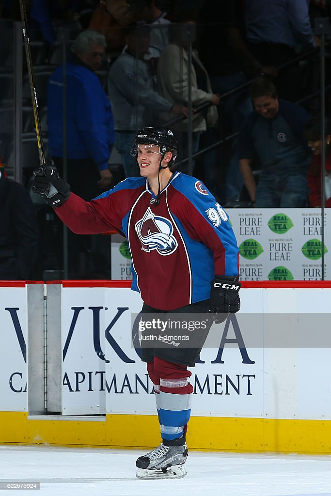 Mikko Rantanen #96 of the Colorado Avalanche acknowledges the crowd as he is announced as the third star of the game against the Winnipeg Jets at Pepsi Center on November 11, 2016 in Denver, Colorado. Rantanen scored his first career goal during the second period. The Avalanche defeated the Jets 3-2 in overtime.