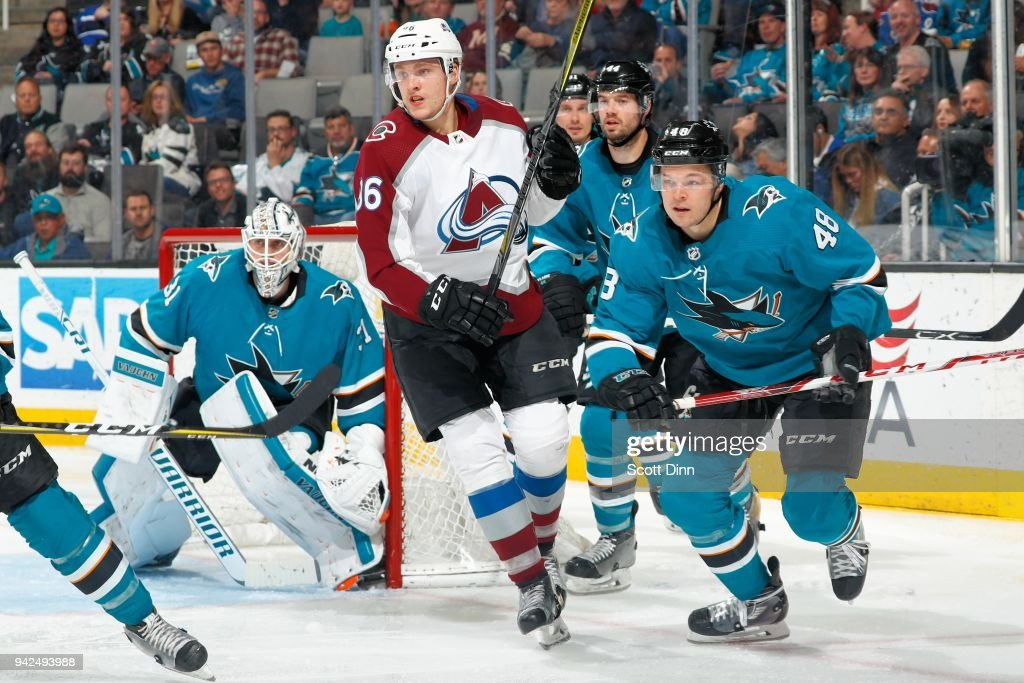 Mikko Rantanen #96 of the Colorado Avalanche and Tomas Hertl #48 of the San Jose Sharks skate as Martin Jones #31 of the San Jose Sharks protects the net at SAP Center on April 5, 2018 in San Jose, California.