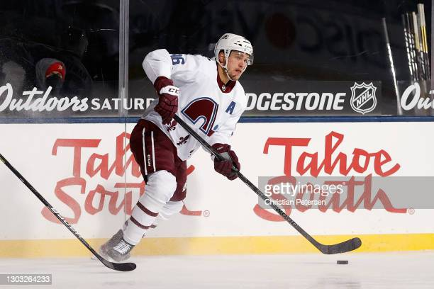 Mikko Rantanen of the Colorado Avalanche carries the puck against the Vegas Golden Knights during the third period during the NHL Outdoors at Lake...