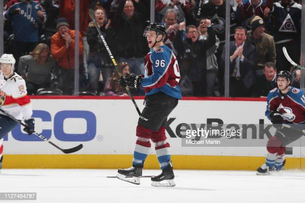 Mikko Rantanen of the Colorado Avalanche celebrates a goal against the Florida Panthers at the Pepsi Center on February 25 2019 in Denver Colorado