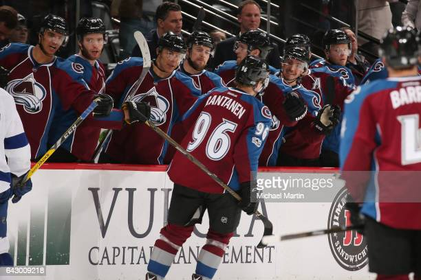 Mikko Rantanen of the Colorado Avalanche celebrates a goal against the Tampa Bay Lightning with his bench at the Pepsi Center on February 19 2017 in...