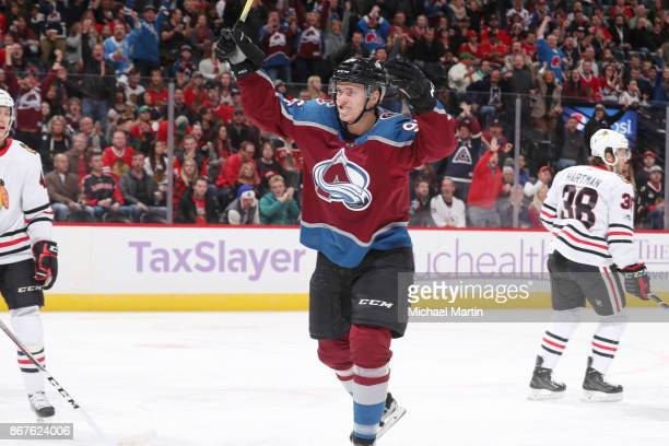 Mikko Rantanen of the Colorado Avalanche celebrates after scoring a goal against the Chicago Blackhawks at the Pepsi Center on October 28 2017 in...
