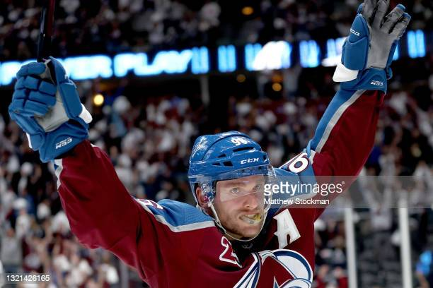 Mikko Rantanen of the Colorado Avalanche celebrates after scoring the winning goal against the Vegas Golden Knights during overtime in Game Two of...