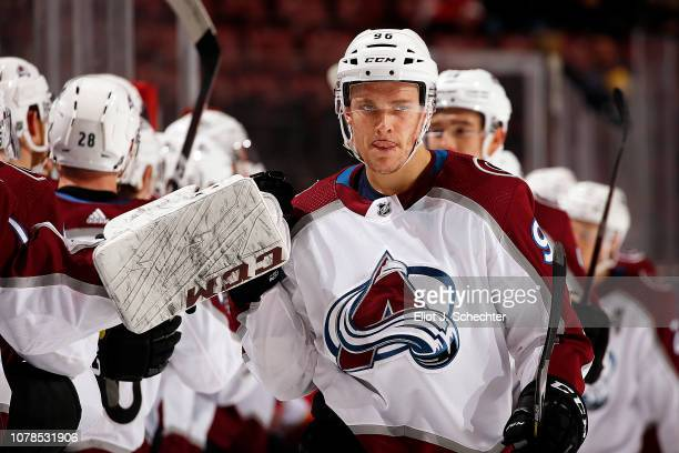 Mikko Rantanen of the Colorado Avalanche celebrates his goal with teammates during the first period against the Florida Panthers at the BBT Center on...