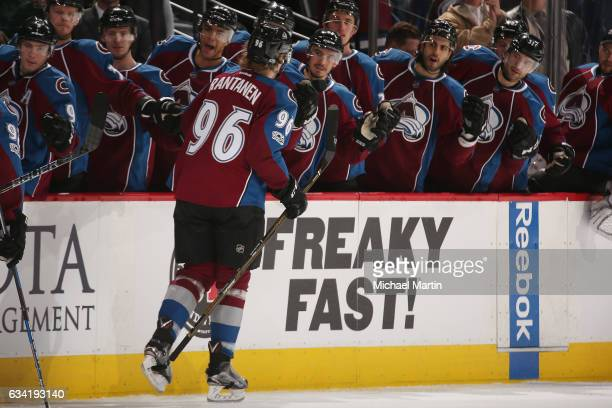 Mikko Rantanen of the Colorado Avalanche celebrates with his bench after scoring a goal against the Montreal Canadiens at the Pepsi Center on...