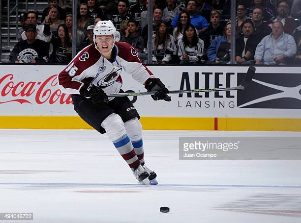 Mikko Rantanen of the Colorado Avalanche chases down the puck during the game against the Los Angeles Kings at STAPLES Center on October 18 2015 in...