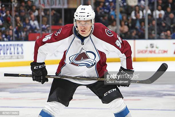 Mikko Rantanen of the Colorado Avalanche gets set for a faceoff against the Toronto Maple Leafs during an NHL game at the Air Canada Centre on...