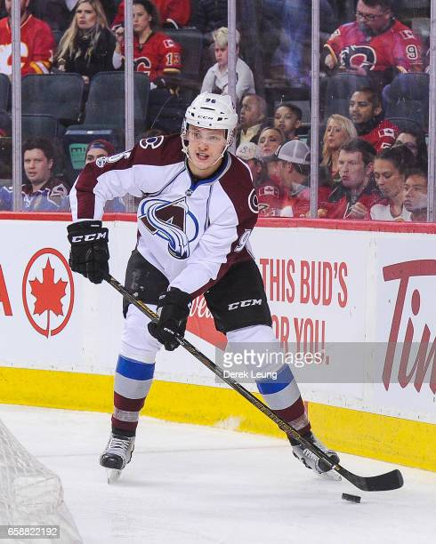 Mikko Rantanen of the Colorado Avalanche in action against the Calgary Flames during an NHL game at Scotiabank Saddledome on March 27 2017 in Calgary...