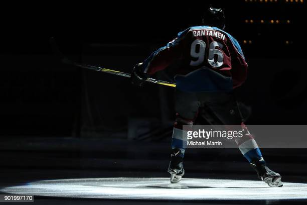 Mikko Rantanen of the Colorado Avalanche is introduced prior to the game against the Columbus Blue Jackets at the Pepsi Center on January 4 2018 in...