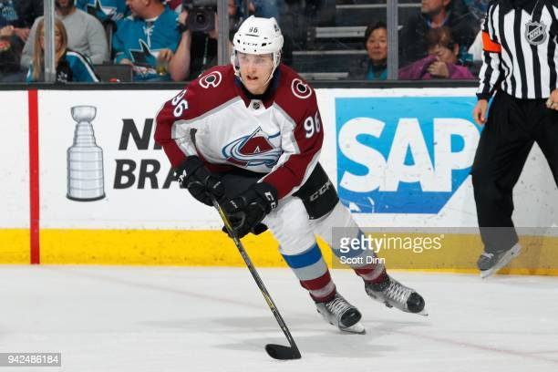 Mikko Rantanen of the Colorado Avalanche looks during a NHL game against the San Jose Sharks at SAP Center on April 5 2018 in San Jose California