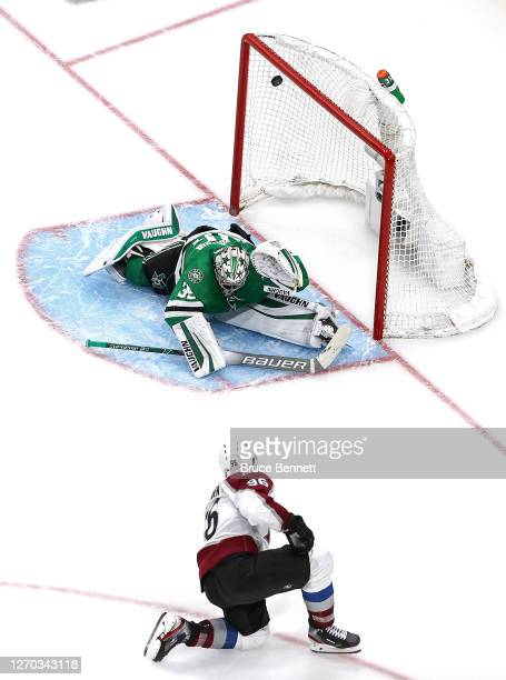 Mikko Rantanen of the Colorado Avalanche scores a goal past Anton Khudobin of the Dallas Stars during the third period in Game Six of the Western...