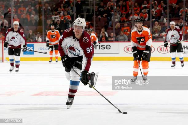 Mikko Rantanen of the Colorado Avalanche scores on an open net during the third period against the Philadelphia Flyers at Wells Fargo Center on...