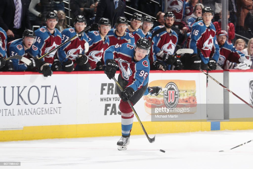 Mikko Rantanen #96 of the Colorado Avalanche shoots and scores against the New York Rangers at the Pepsi Center on January 20, 2018 in Denver, Colorado. The Avalanche defeated the Rangers 3-1.