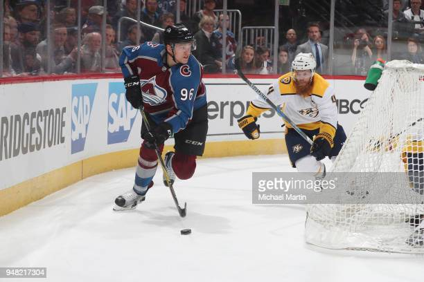 Mikko Rantanen of the Colorado Avalanche skates against Ryan Ellis of the Nashville Predators in Game Three of the Western Conference First Round...