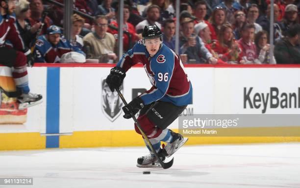 Mikko Rantanen of the Colorado Avalanche skates against the Chicago Blackhawks at the Pepsi Center on March 30 2018 in Denver Colorado The Avalanche...