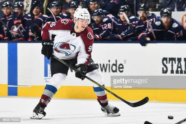 Mikko Rantanen of the Colorado Avalanche skates against the Columbus Blue Jackets on March 8 2018 at Nationwide Arena in Columbus Ohio
