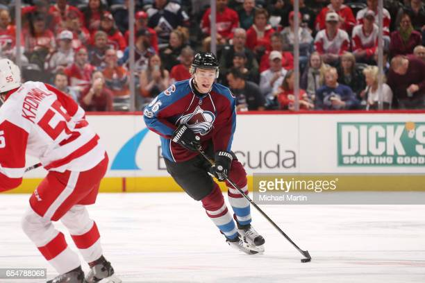 Mikko Rantanen of the Colorado Avalanche skates against the Detroit Red Wings at the Pepsi Center on March 15 2017 in Denver Colorado The Avalanche...