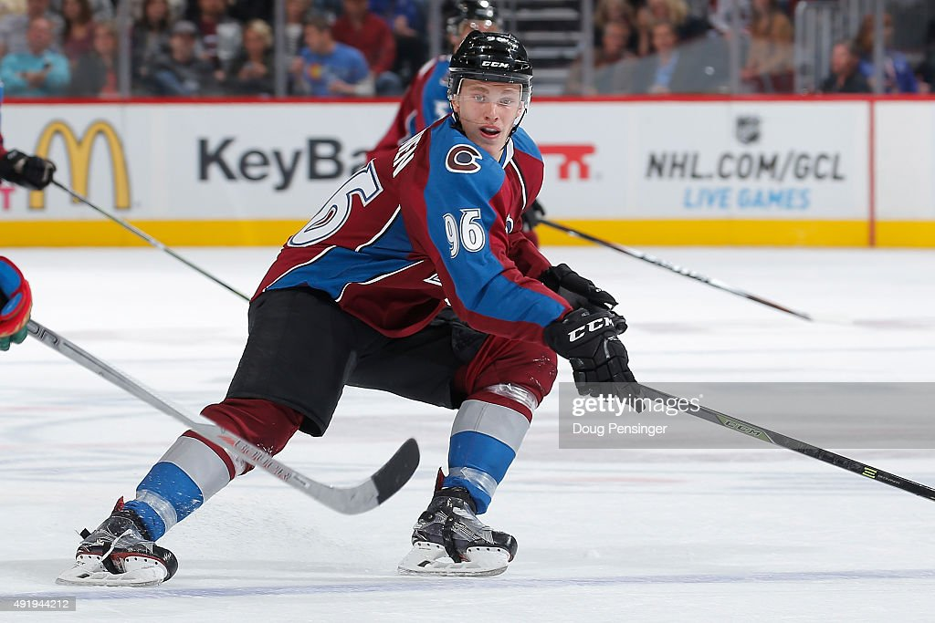 Mikko Rantanen #96 of the Colorado Avalanche skates against the Minnesota Wild at Pepsi Center on October 8, 2015 in Denver, Colorado. The Wild defeated the Avalanche 5-4.
