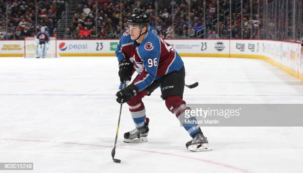 Mikko Rantanen of the Colorado Avalanche skates against the Minnesota Wild at the Pepsi Center on January 6 2018 in Denver Colorado The Avalanche...