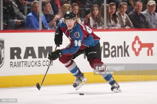 Mikko Rantanen of the Colorado Avalanche skates against the Montreal Canadiens at the Pepsi Center on February 7 2017 in Denver Colorado