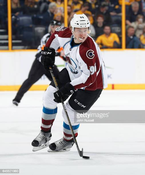 Mikko Rantanen of the Colorado Avalanche skates against the Nashville Predators during an NHL game at Bridgestone Arena on February 23 2017 in...